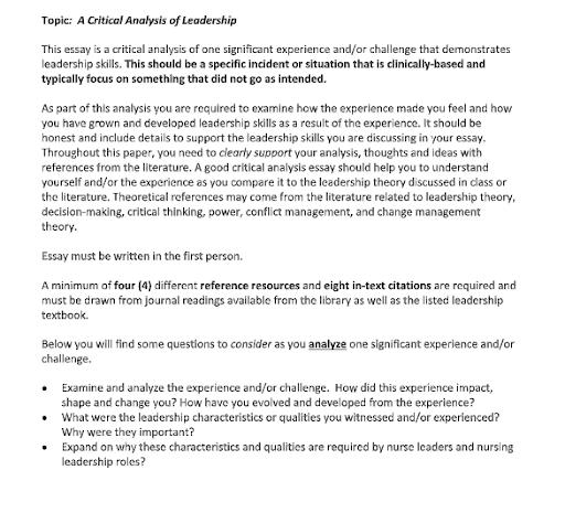 critical analysis of leadership